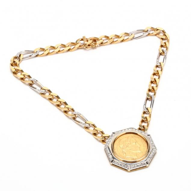 two-color-18kt-gold-emperor-napoleon-iii-coin-and-diamond-necklace