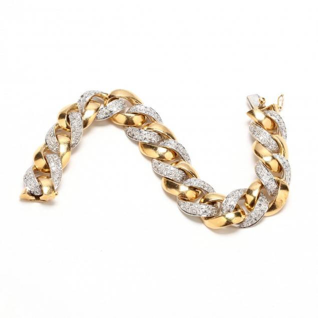 two-color-18kt-gold-and-diamond-curb-link-bracelet