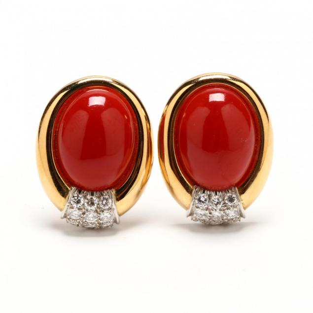 18kt-gold-red-coral-and-diamond-ear-clips