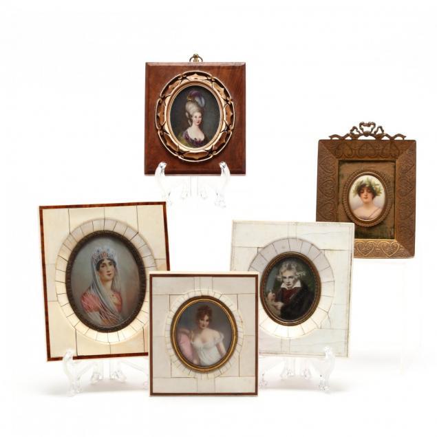 group-of-5-antique-grand-tour-portrait-miniatures