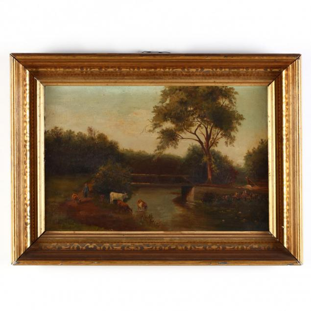 antique-american-school-painting-of-cattle-in-a-landscape