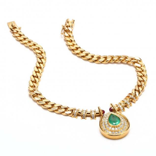 18kt-gold-emerald-and-diamond-necklace