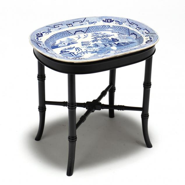 antique-blue-willow-platter-on-stand