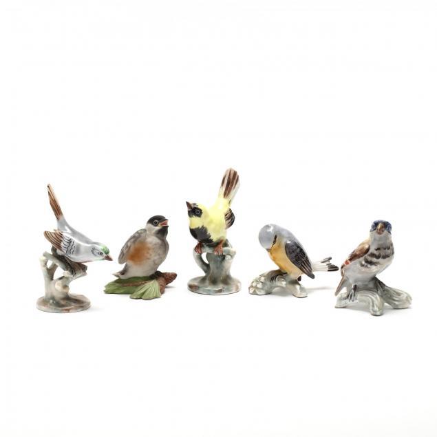 group-of-five-porcelain-bird-figurines