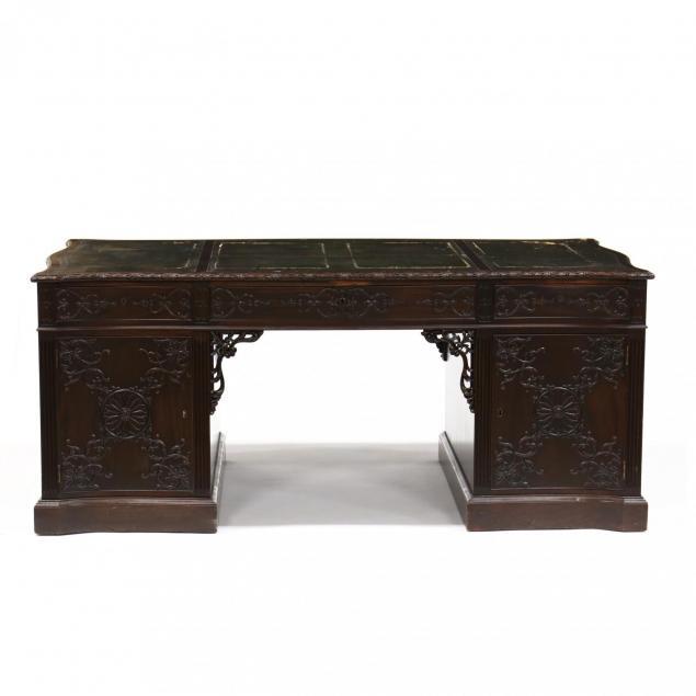 georgian-style-mahogany-carved-partner-s-desk