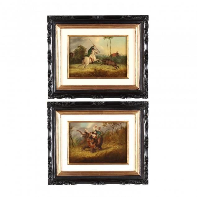 a-pair-of-hunting-scenes-after-the-engravings-in-i-oriental-field-sports-i