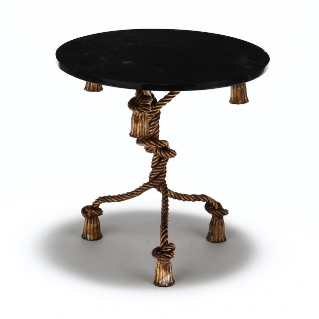 hollywood-regency-glass-and-gilt-metal-tassel-side-table