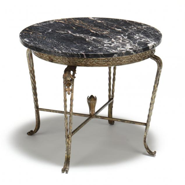 spanish-iron-and-marble-top-table