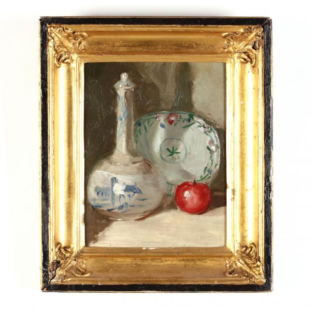 continental-school-still-life-with-apple-and-porcelain