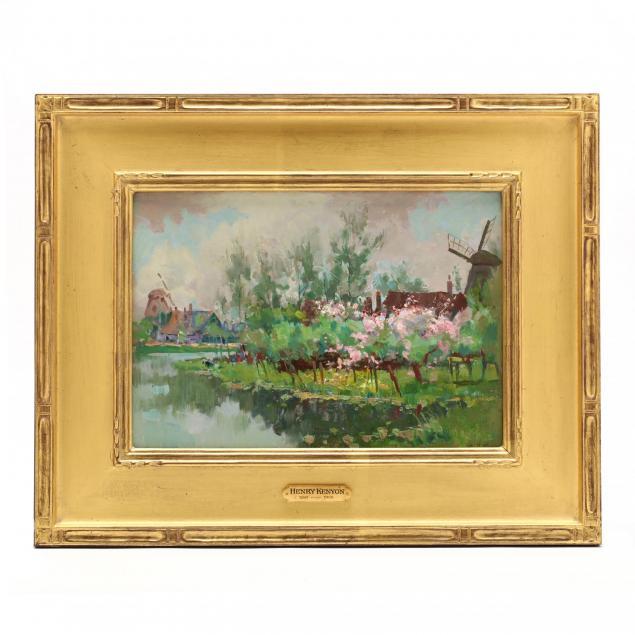 henry-kenyon-american-1861-1926-dutch-windmills-in-springtime