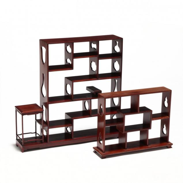 two-chinese-hardwood-miniatures-display-shelves