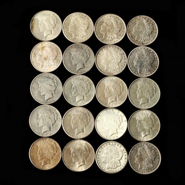 twenty-mixed-circulated-peace-and-morgan-silver-dollars