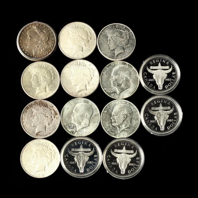 mixed-lot-of-u-s-and-canadian-silver-dollars