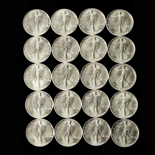 roll-of-twenty-bu-1988-1-american-silver-eagles