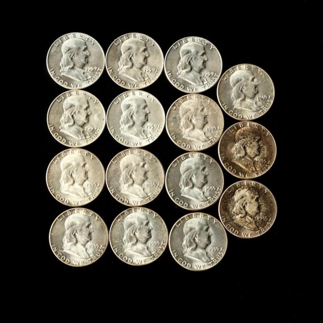 fifteen-bu-1950s-franklin-half-dollars