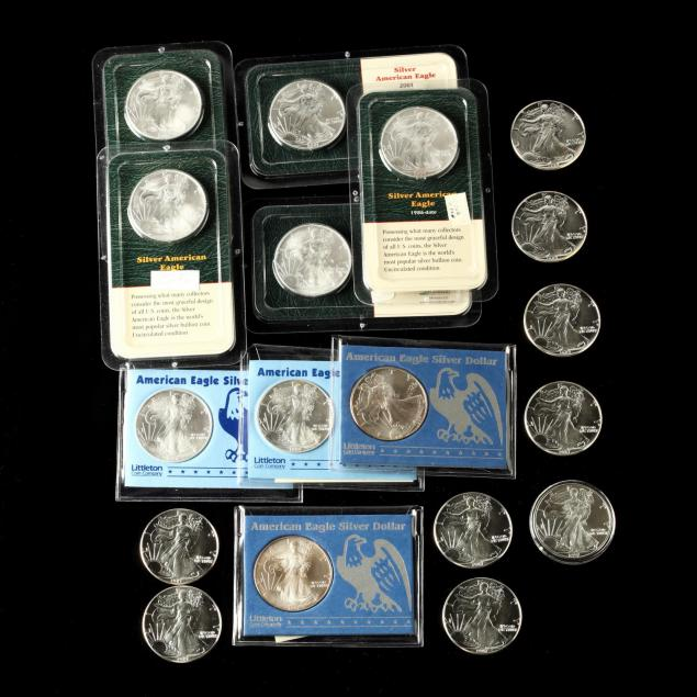 eighteen-mixed-date-american-1-silver-eagle-bullion-coins