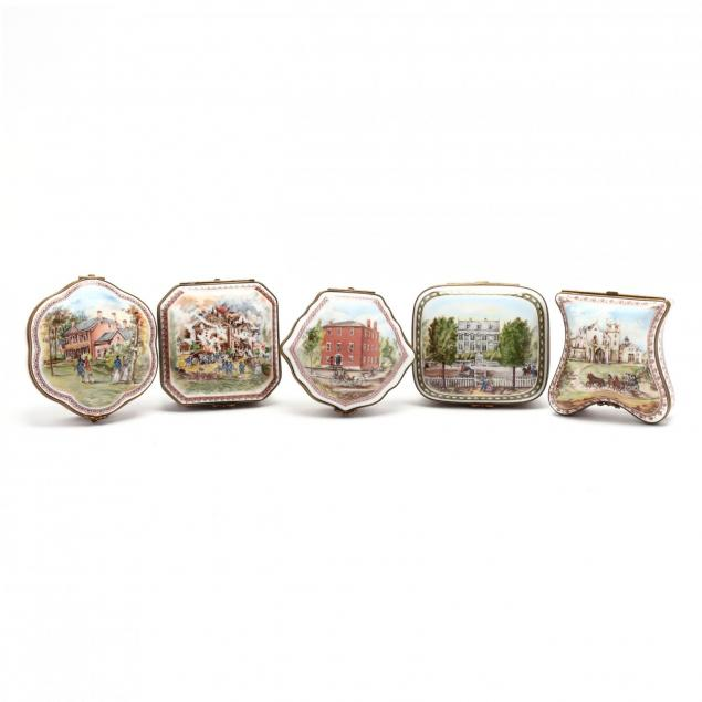 cased-set-of-national-trust-collection-of-fine-porcelain-boxes-and-25th-anniversary-bronze-medal
