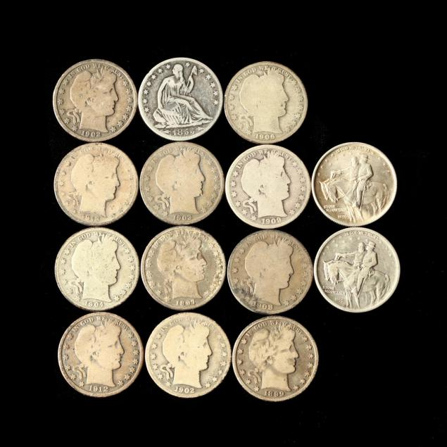 1855-o-half-dollar-eleven-barber-halves-and-two-1925-stone-mountain-halves