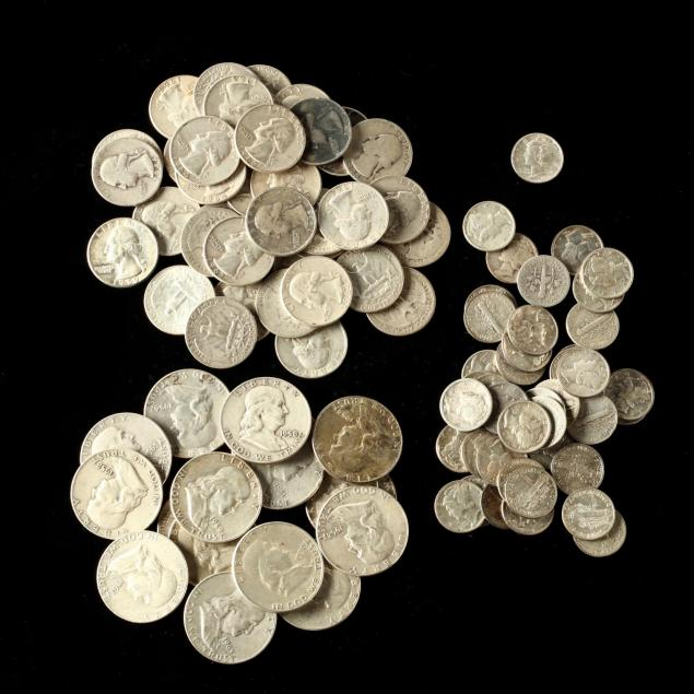 mixed-group-of-circulated-pre-1965-90-silver-coins