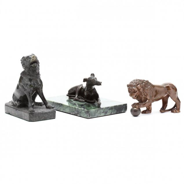 three-antique-animal-desk-sculptures