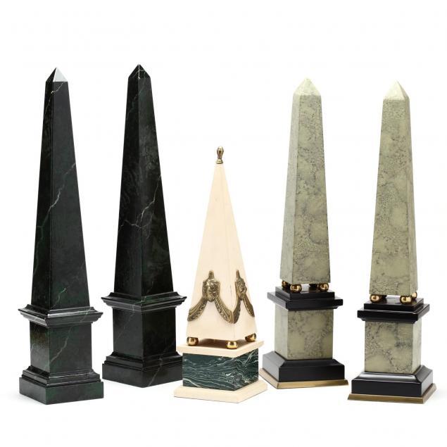 group-of-five-vintage-painted-obelisks