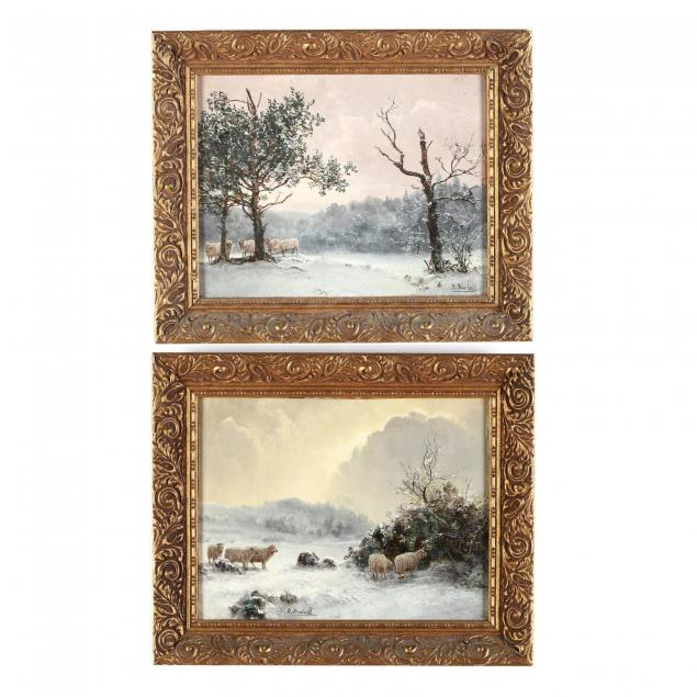 thomas-finchett-british-19th-20th-century-two-snowy-landscapes-with-sheep