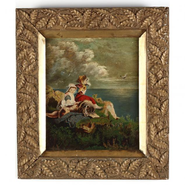 a-19th-century-painting-of-two-children-and-dog-by-the-seaside