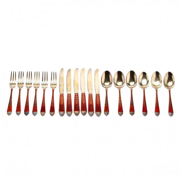 a-norwegian-art-deco-silver-gilt-enameled-flatware-set