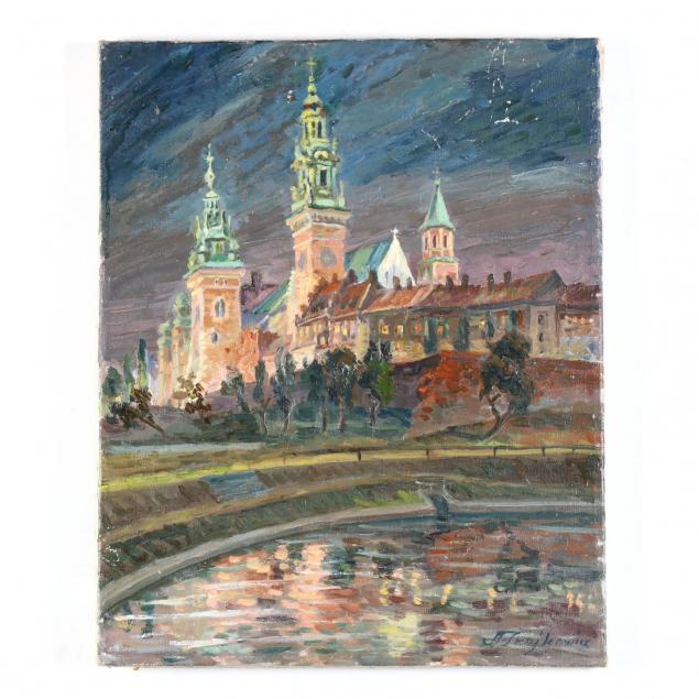 aleksander-trojkowicz-polish-b-1916-wawel-cathedral-at-night