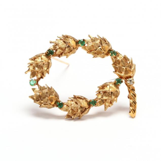 14kt-gold-emerald-and-diamond-brooch