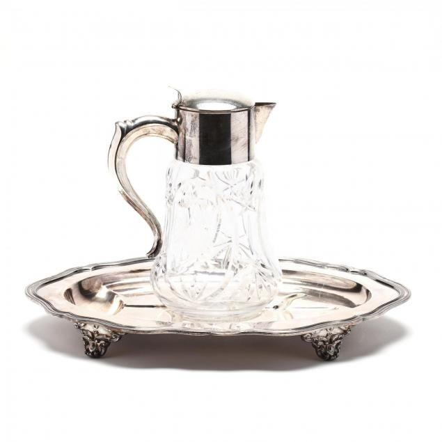 vintage-silverplate-platter-and-cut-glass-pitcher
