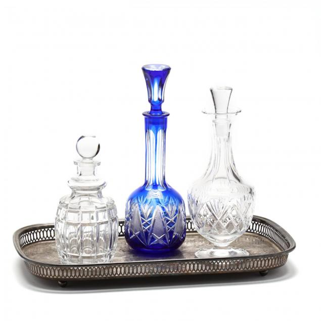 silverplate-gallery-tray-and-three-crystal-decanters