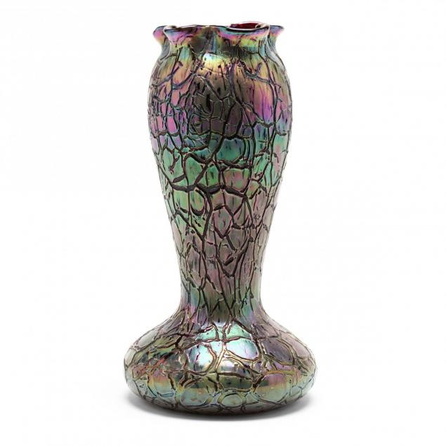 rindskopf-i-crackle-i-tall-art-glass-vase