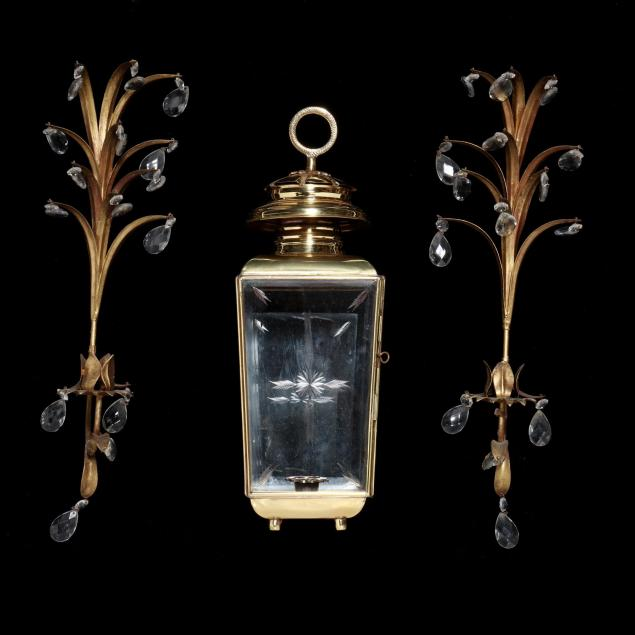 italianate-brass-lantern-and-pair-of-drop-prism-sconces