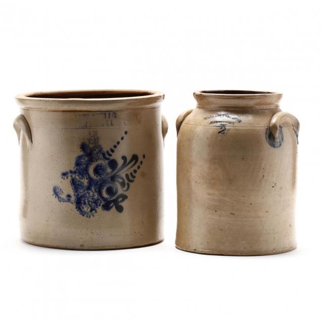 two-antique-cobalt-decorated-stoneware-crocks