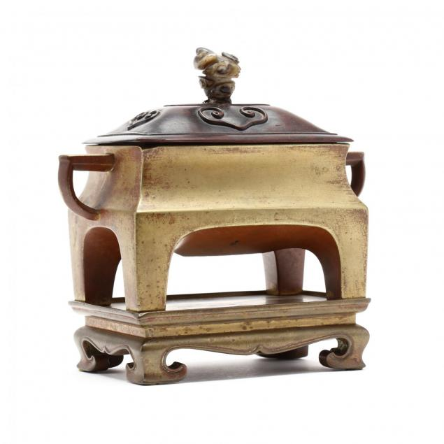 a-chinese-rectangular-bronze-censer-with-stand-and-cover