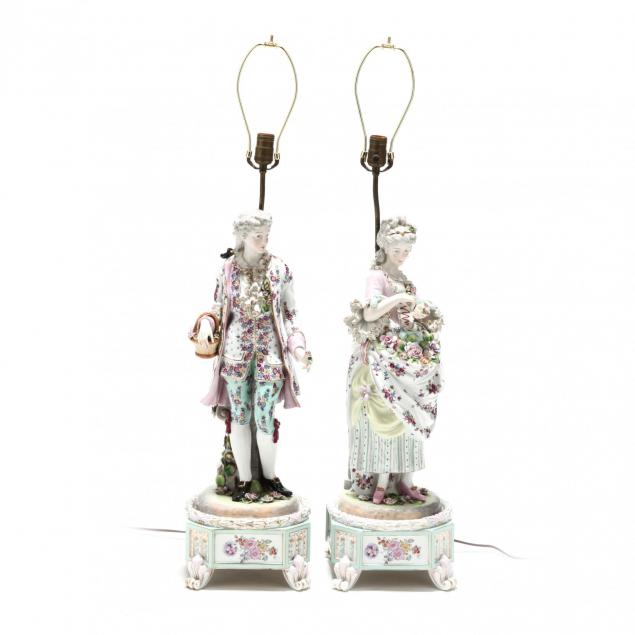 pair-of-large-painted-porcelain-figural-table-lamps