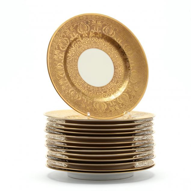 set-of-14-royal-bavaria-gold-encrusted-plates