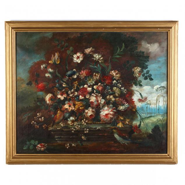 a-large-floral-still-life-with-birds-in-the-french-manner