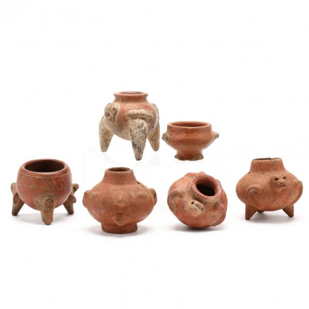 six-small-pre-columbian-red-ware-effigy-pots