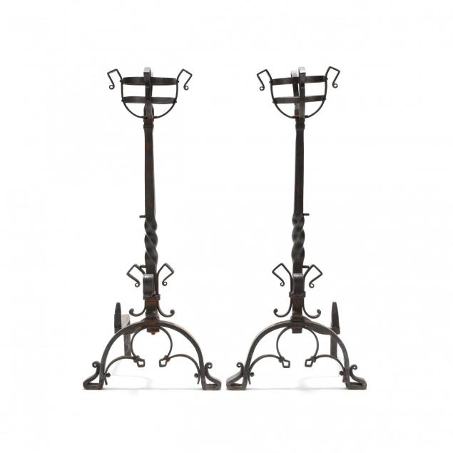 pair-of-monumental-continental-wrought-iron-andirons