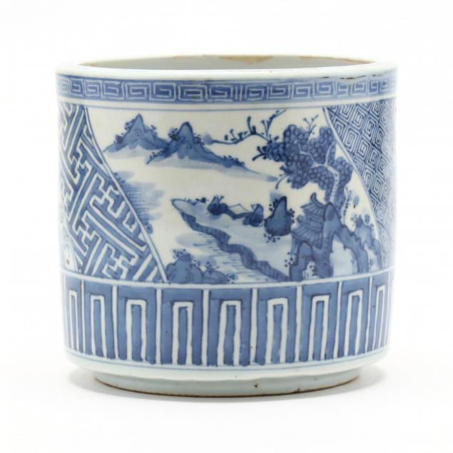 a-japanese-blue-and-white-porcelain-brush-pot