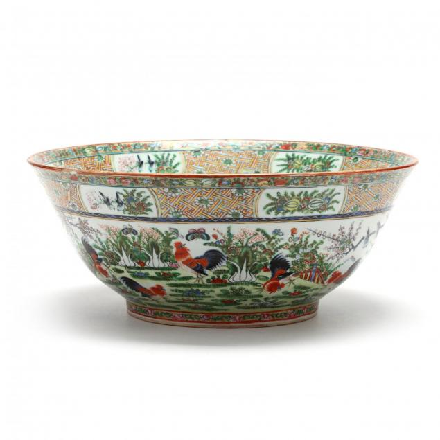 a-rare-large-chinese-export-porcelain-punch-bowl-with-roosters