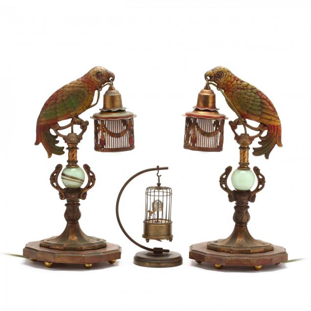 pair-of-art-deco-parrot-boudoir-lamps-and-an-automaton-birdcage-clock