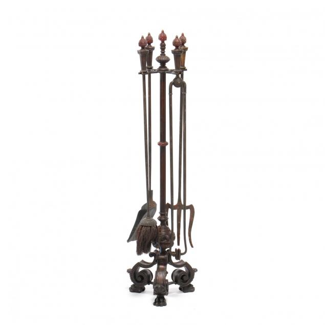 spanish-renaissance-revival-cast-bronze-fireplace-tool-set