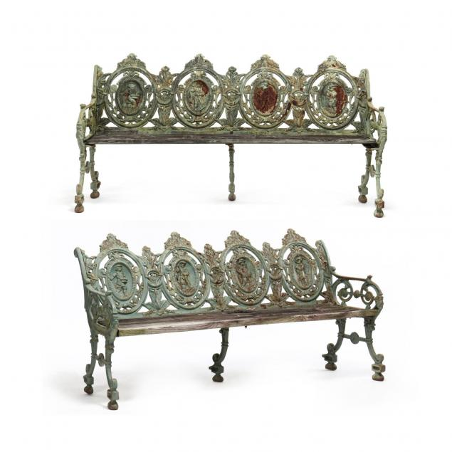 pair-of-renaissance-revival-cast-iron-garden-benches