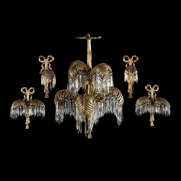 italian-classical-style-gilt-palm-chandelier-and-sconces