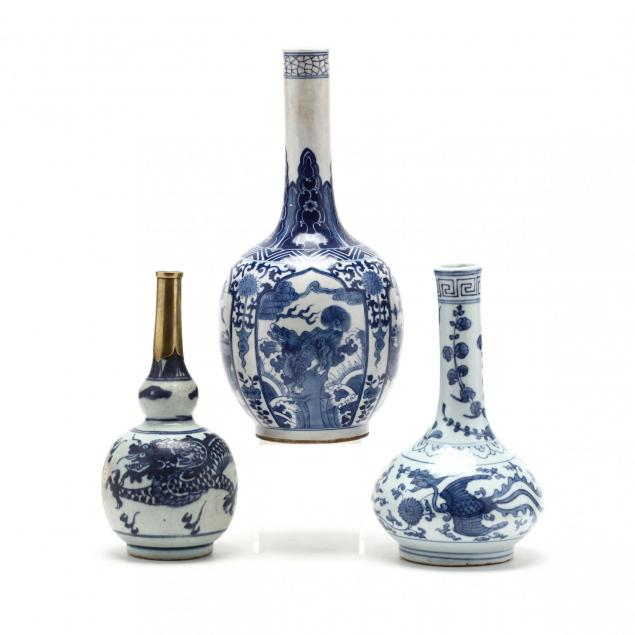 three-antique-chinese-blue-and-white-cabinet-vases