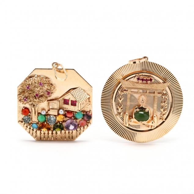 two-vintage-14kt-gem-set-charms