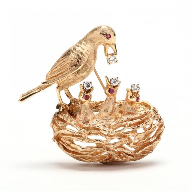 14kt-gold-and-gem-set-bird-motif-brooch
